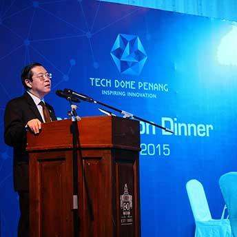 Lim Guan Eng having a speech at a Tech Dome Penang event