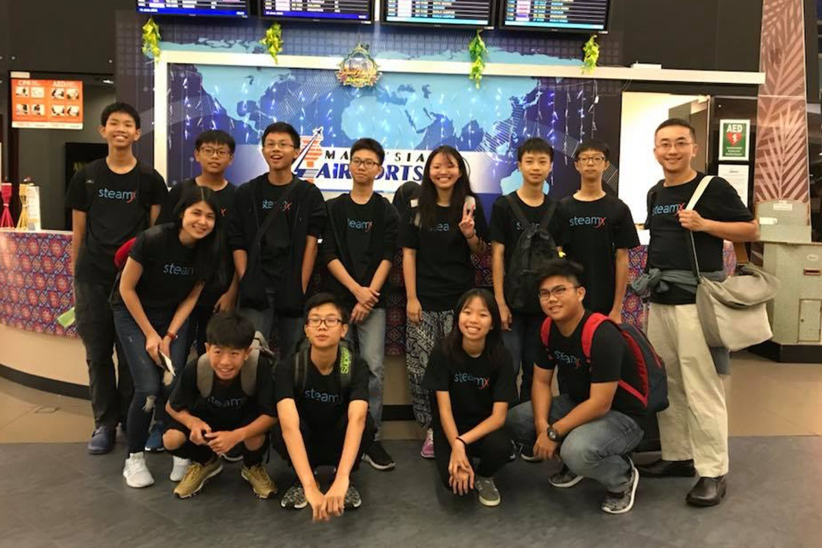 Attendees of Tech Dome Penang's student exchange program at the airport